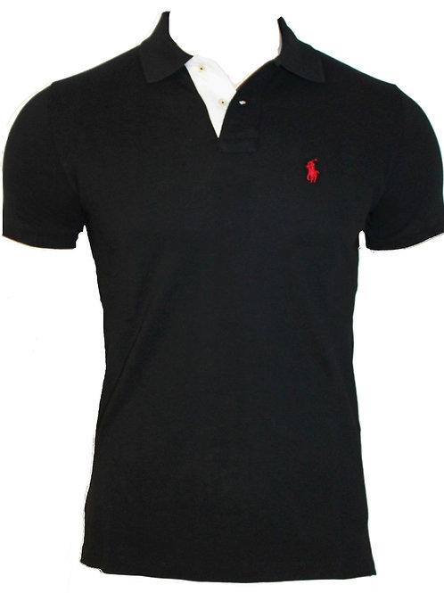 Mens Black tee top Polo Custom Fit Short sleeve