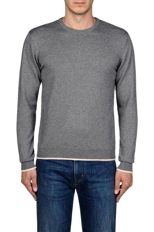 Armani Mens Basic round Neck Jumper wool grey