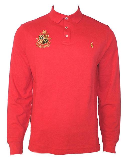 Polo Ralph Lauren Mens Long Sleeve Collared T-shirt Red Custom Slim Fit MU49