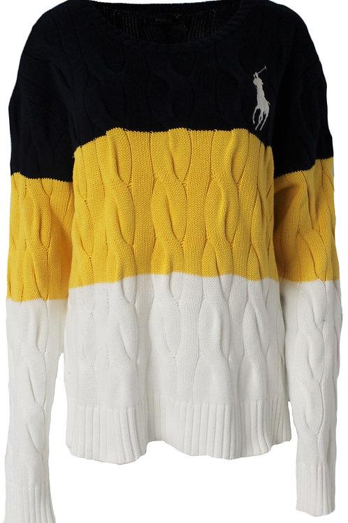 Polo Ralph Lauren Women Chunky knit cable Jumper Boyfriend Sweater Big Horse Am8