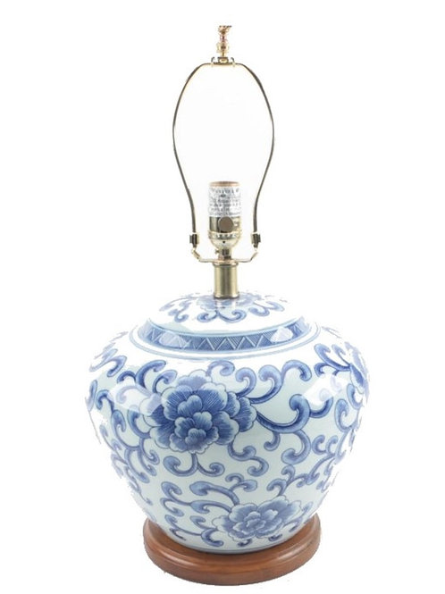 Ralph Lauren Home Floral Porcelain Ginger Jar Lamp Large Rare Hand painted  AM19