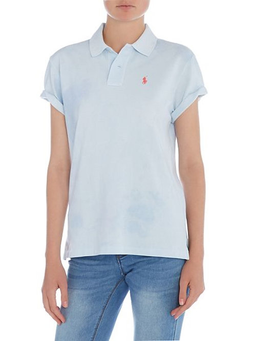 Polo Ralph Lauren Womens Distressed top Tee Light Blue Boyfriend Polo MU3