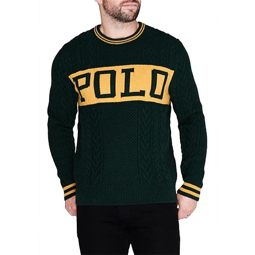 POLO RALPH LAUREN MENS CABLE KNIT JUMPER SWEATER ST ANDREWS 1967 KW26