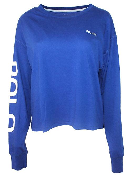 Polo Ralph Lauren Womens Shirt sleeve crop top Tee T- shirt Blue Am6