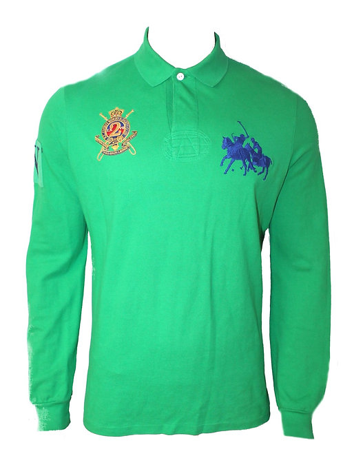 Polo Ralph Lauren Mens Long Sleeve Big Pony Stampede Green Top Tee T-shirt IS51