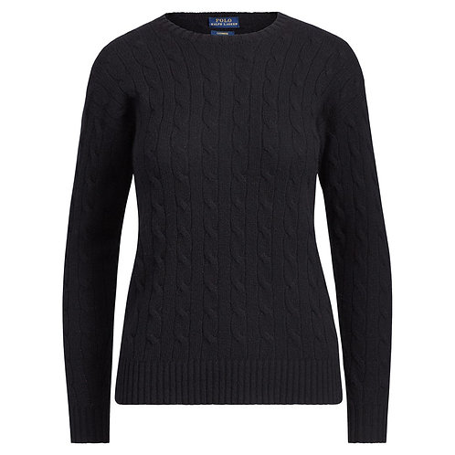 Polo Ralph Lauren Womens Cashmere Jumper Sweater Cable Black KW28