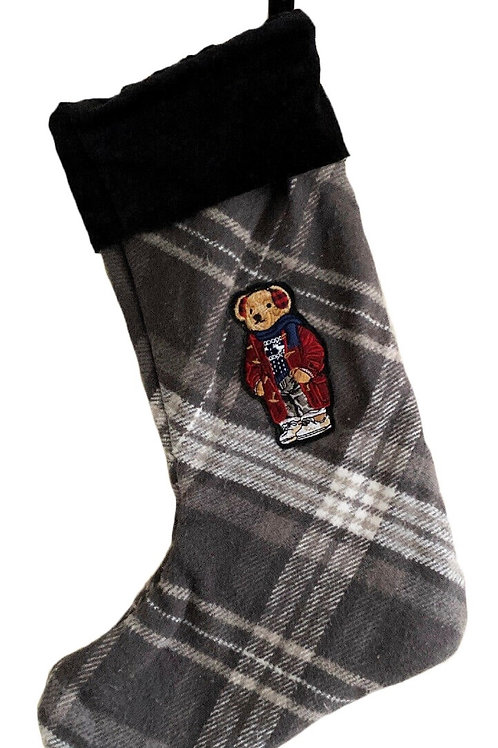 Polo Ralph Lauren POLO BEAR BARRON CHRISTMAS STOCKING Tartan Gift Am1