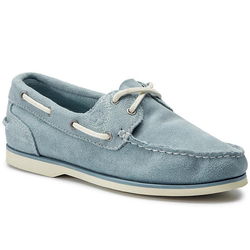 Timberland-Womens 2-Eye Boat Shoes Light Blue Suede Leather MU83