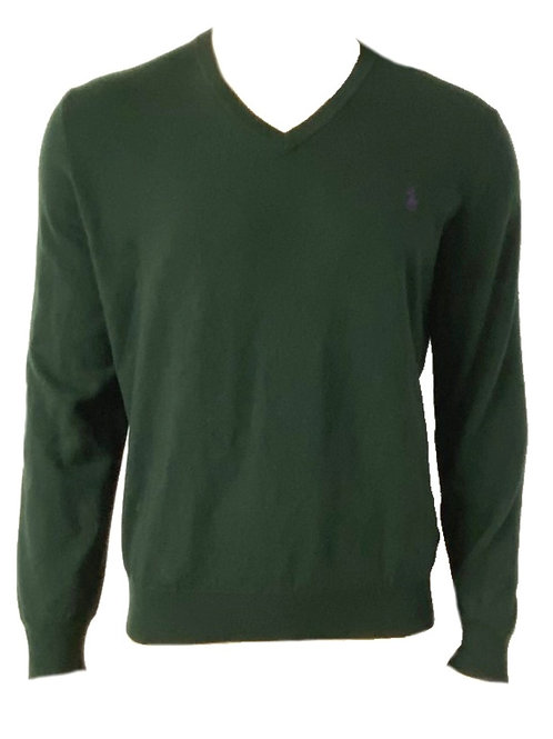 POLO RALPH LAUREN MENS V NECK GREEN WOOL JUMPER SWEATER MU89