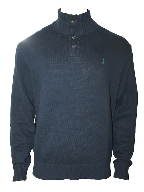 Polo Ralph Lauren Mens Thick Mock Jumper Sweater Button Navy Custom fit IS44