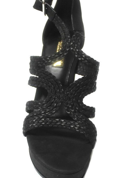 Polo Ralph Lauren Womens Leather Sandals Aleena Black Heels Block