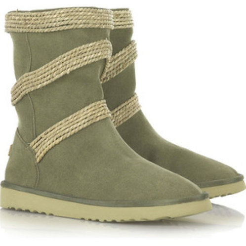 Mou Seagrass Circled Canvas boots Mid
