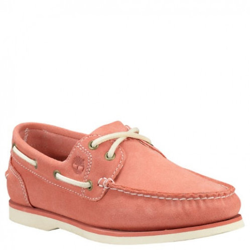 Timberland-Womens 2-Eye Boat Shoes-A1V4C660-Medium Pink Suede Leather MU82