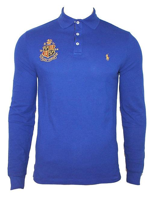 Polo Ralph Lauren Mens Long Sleeve Collared T-shirt Blue Custom Slim Fit MU46
