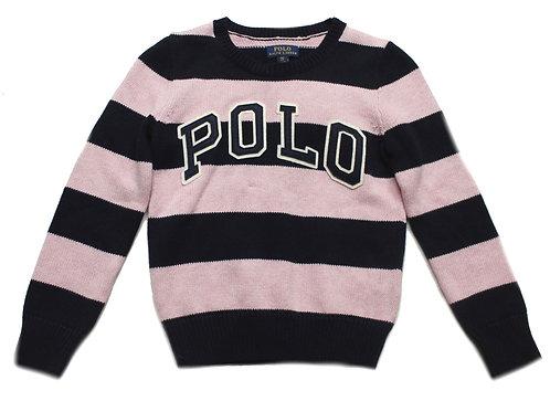 Polo Ralph Lauren Kids Girls Childrens Jumper Sweater Striped Pink MU44