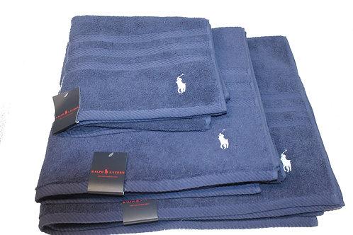 Polo Ralph Lauren Towel set Of 3 Navy Bath Sheet Hand Gift AM14