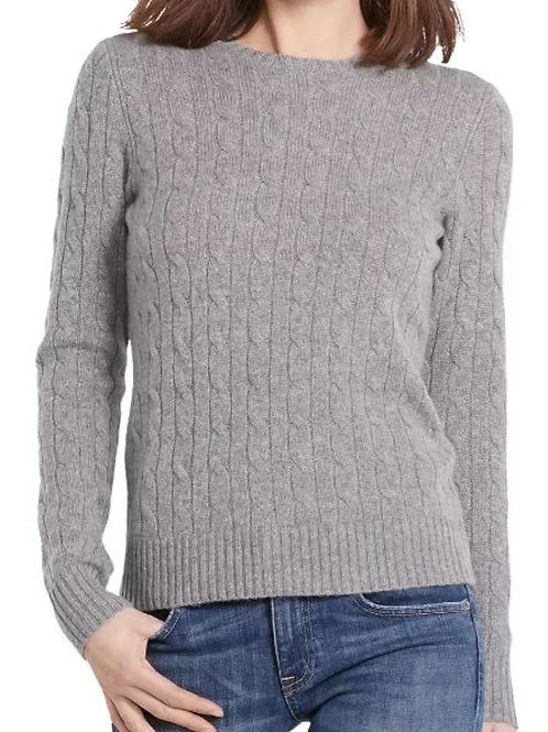 Polo Ralph Lauren Womens Cashmere Jumper Sweater Cable Grey KW29
