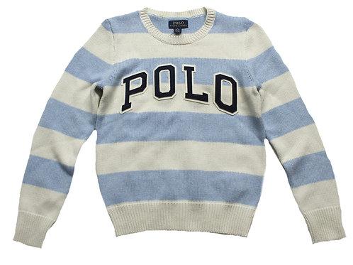 Polo Ralph Lauren Kids Girls Childrens Jumper Sweater Striped Blue MU43