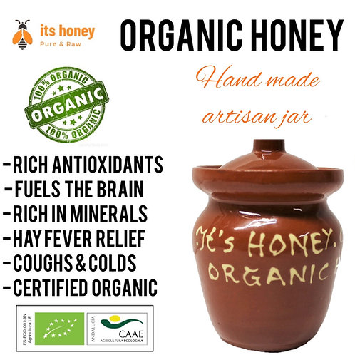 Organic Raw Honey Wild Flower in Artisan Jar - 250 grams