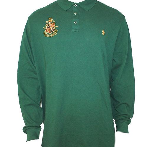 Polo Ralph Lauren Mens Long Sleeve Collared T-shirt Green Custom Slim Fit MU47