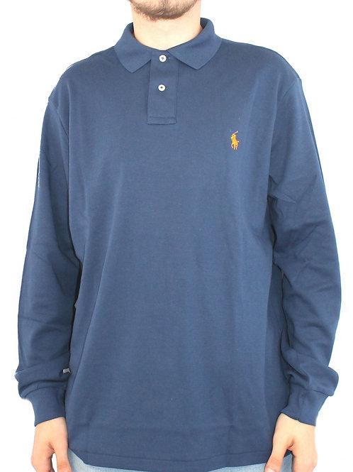 Polo Mens Long Sleeve Top Shirt Tee Blue