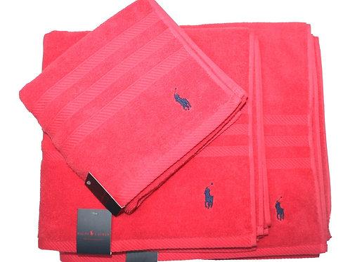 Polo Bath Hand Towel Sheet Set Red