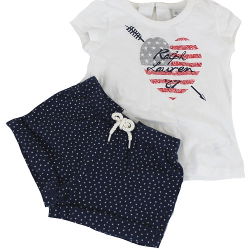 Polo Ralph Lauren Girls White Colored 2 Piece Short-Sleeved T-shirt/ Shorts PM15