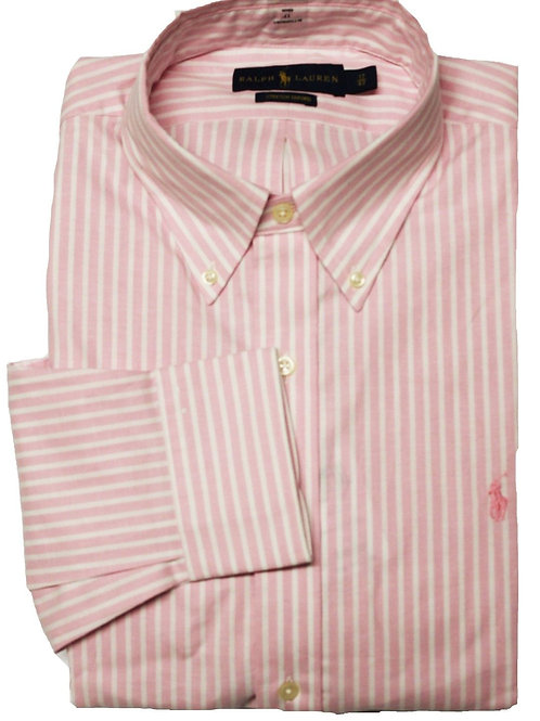 Mens Striped long sleeve Shirt Formal Polo