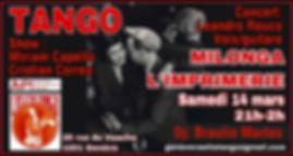Milonga L'imprimerie - Show de Miriam Coppelo & Cristian Correa / DJ Braulio Martos
