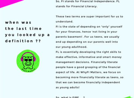 Introduction to Financial Literacy and Financial Independence for teens.