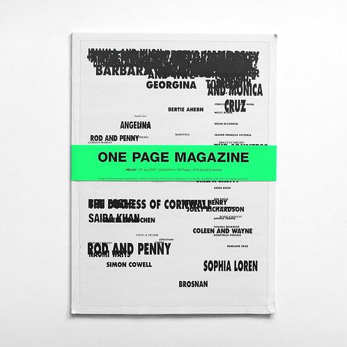 ONE PAGE MAGAZINE - HELLO!