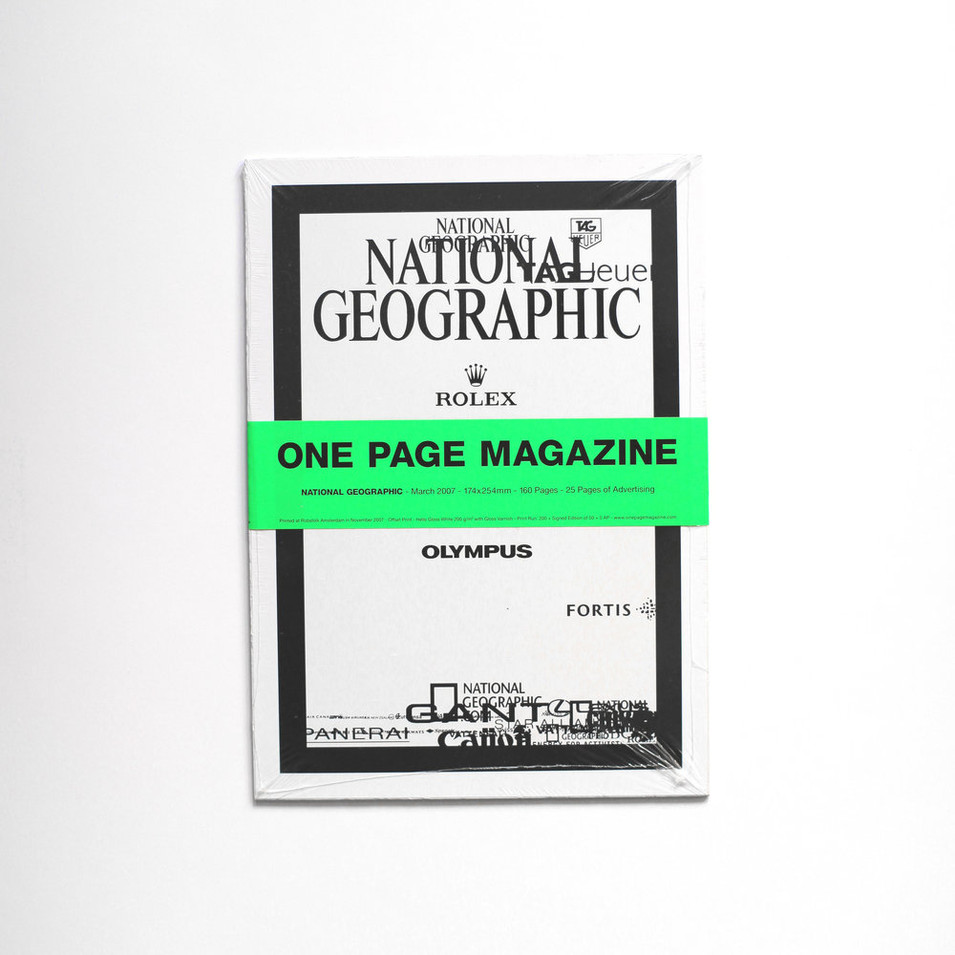 National Geographic, dated March 2007, contains 25 pages of advertising whose logos are placed in exactly these positions.