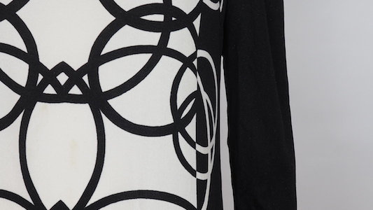 Vintage black and white 60's long patterned dress