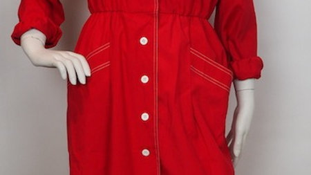 Red 80's shirt dress with white details