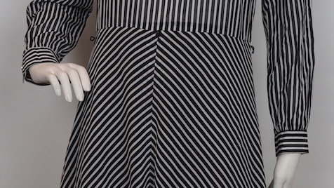 Black and White 60's stripe dress with white collar