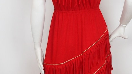 Red 80's tassel dress