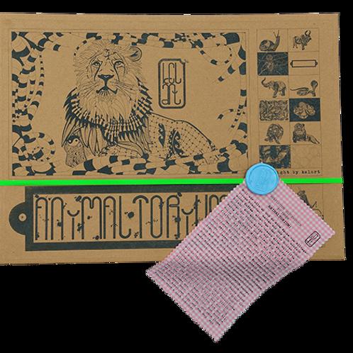 "Animaltorium, Ausmalbuch, ""Andrea"", Verpackung Neongrün/Hellblau/Rosa"