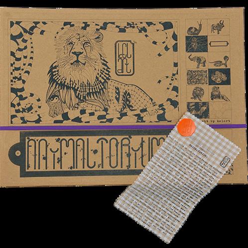 """Animaltorium, Ausmalbuch, """"Elyse"""", Verpackung Lila/Orange/Braun"""