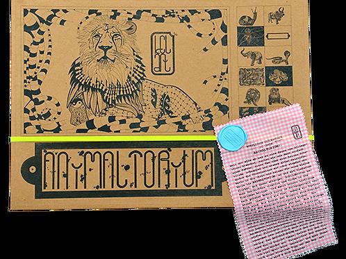 """Animaltorium, Ausmalbuch, """"Tim"""", Verpackung Neongelb/Hellblau/Rosa"""