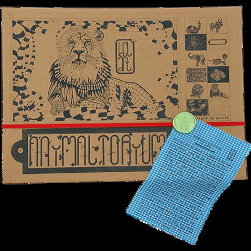 "Animaltorium, Ausmalbuch, ""Rosmarie"", Verpackung Rot/Grün/Blau"