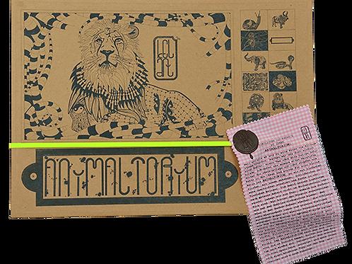 "Animaltorium, Ausmalbuch, ""Tho"", Verpackung Neongelb/Braun/Rosa"