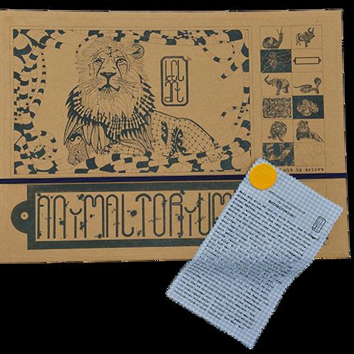 "Animaltorium, Ausmalbuch, ""Jürg"", Verpackung Dunkel/Gelb/Hellblau"