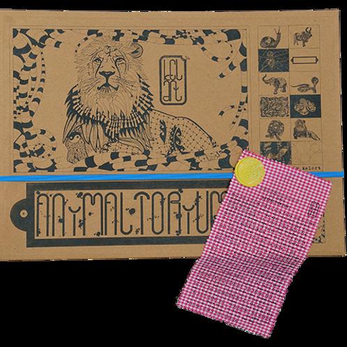 """Animaltorium, Ausmalbuch, """"David"""", Verpackung Blau/Gelb/Pink"""