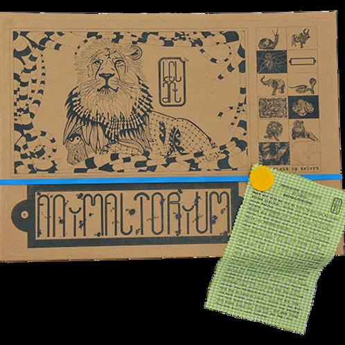 "Animaltorium, Ausmalbuch, ""Ngyen"", Verpackung Blau/Gelb/Hellgrün"