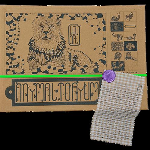 "Animaltorium, Ausmalbuch, ""Brian"", Verpackung Neongrün/Lila/Hellbraun"