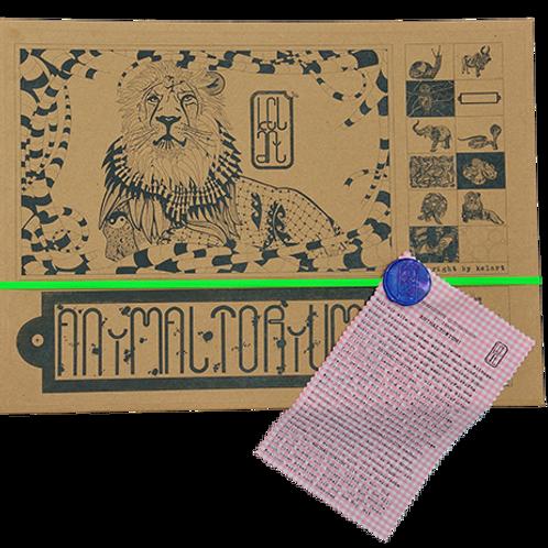"Animaltorium, Ausmalbuch, ""Viktor"", Verpackung Neongrün/Blau/Rosa"