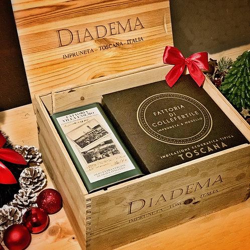 SUVERETO Christmas Gift BOX - 1 Latta Olio e 1 Bag in Box Vino Igt
