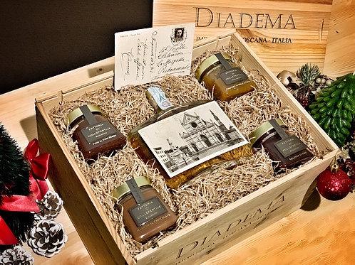 SIENA Christmas Gift Box - 1 Grappa Gran Riserva e 4 Composte Biologiche