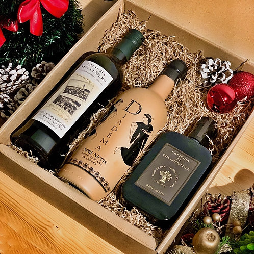 IMPRUNETA Christmas Gift Box - 1 Olio Convenzionale  1 Olio Bio 1 Imprunetis IGT