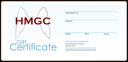 Give them a gift certificate for the best grave care in Central Massachusetts!